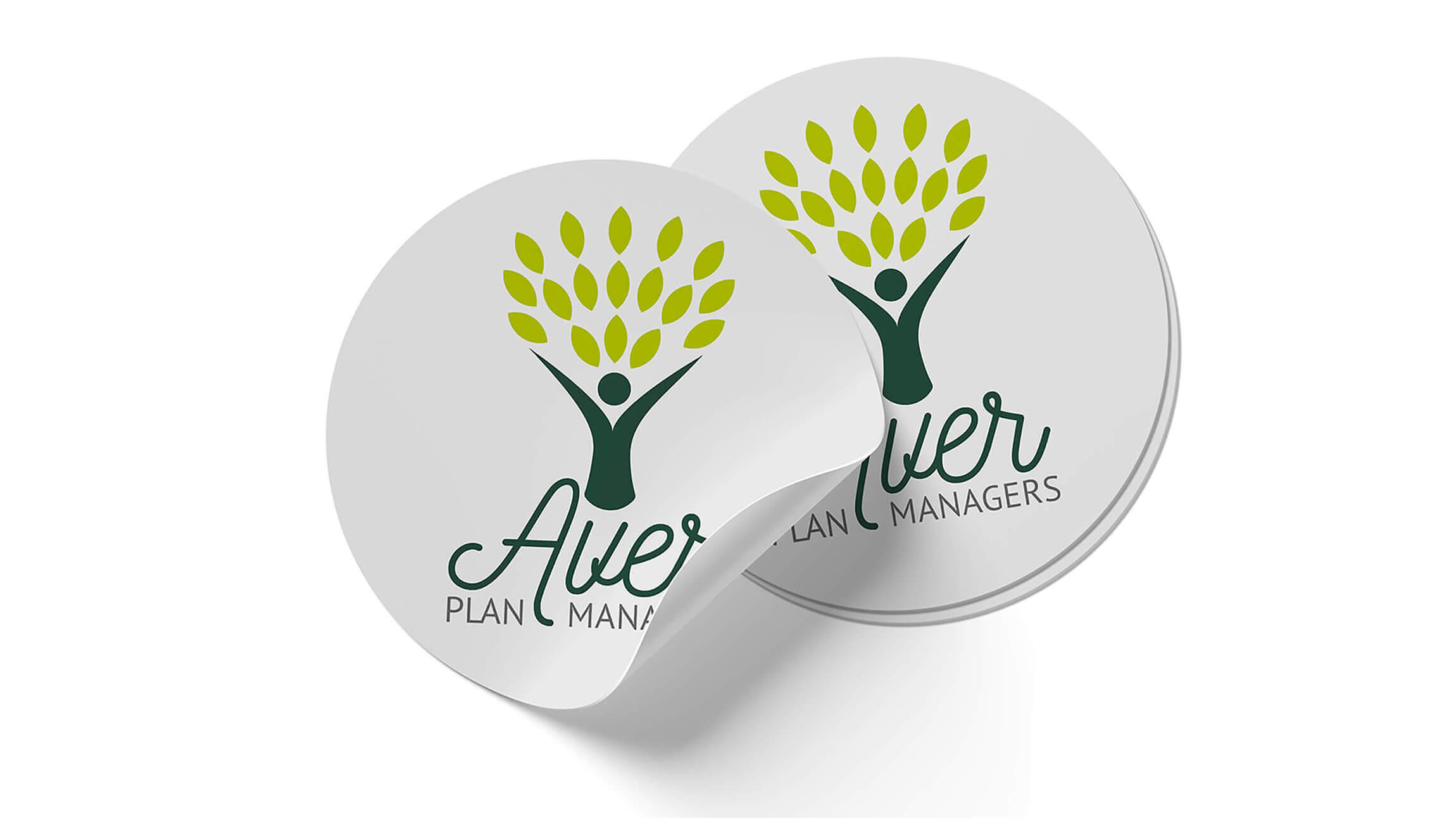 Logo & Branding - Logo design mockup on circular vinyl stickers for Aver Plan Managers