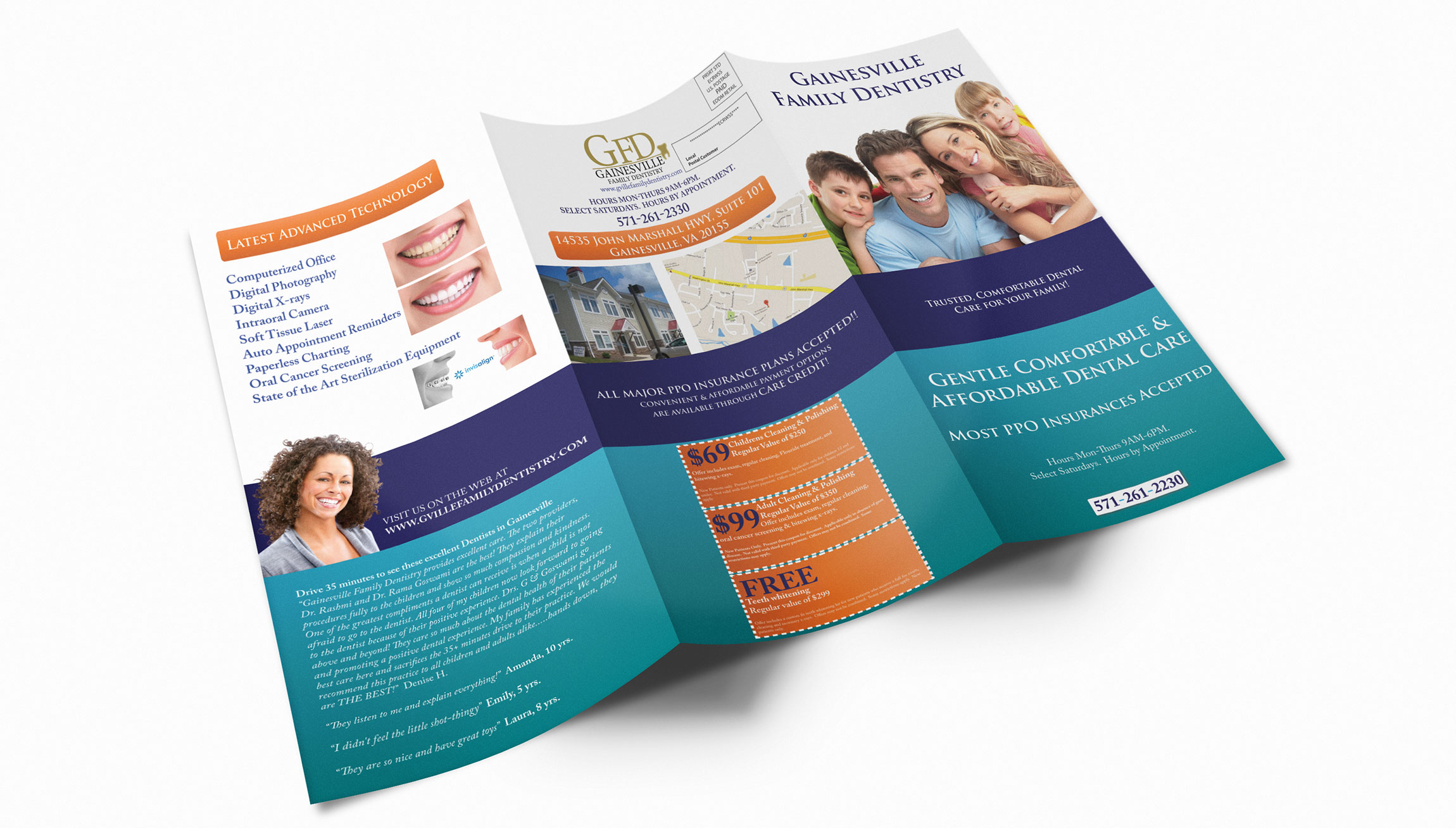 Printing and Design - Trifold double-sided flyer design mockup for Gainesville Family Dentistry