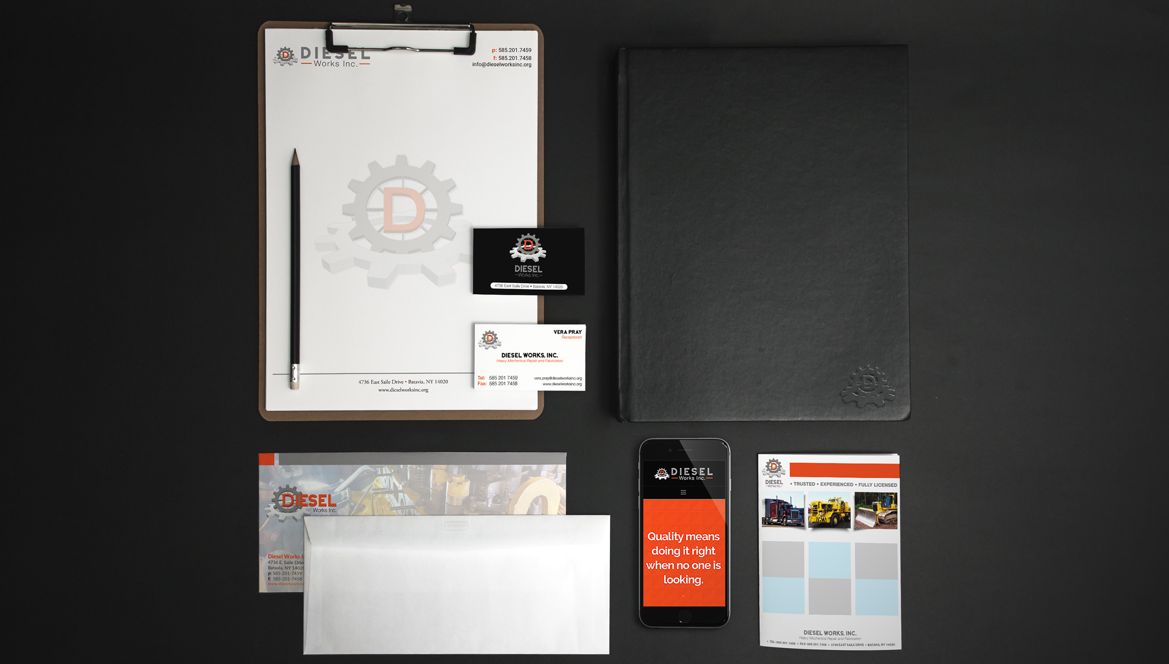Printing and Design - Branded Materials mockups for Diesel Works Inc. including envelopes, letterhead, business cards, a padfolio, mobile website and a handout.
