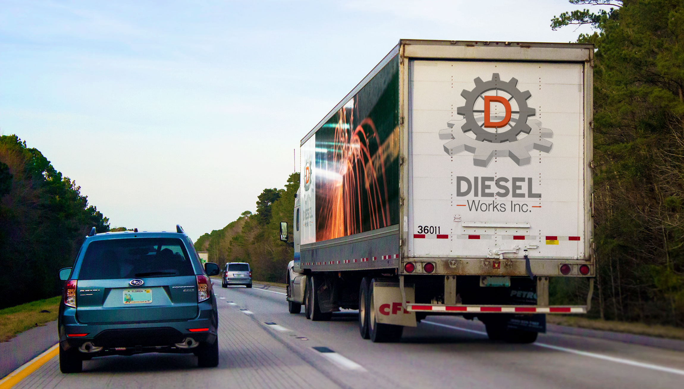 Printing and Design - Vinyl Mockups on a trailer for Diesel Works Inc.