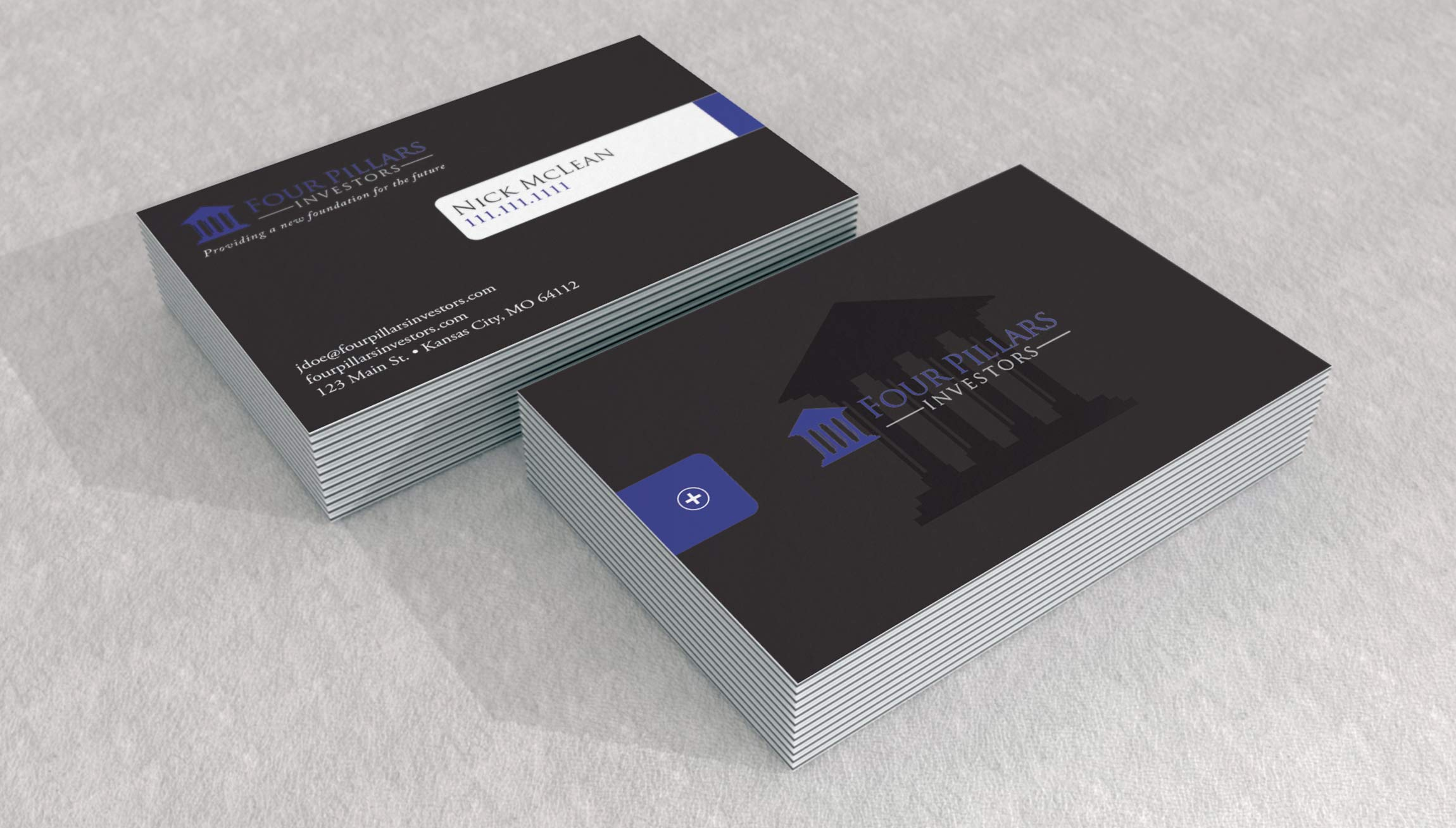 Printing and Design - Business Card Mockups for Four Pillars Investors