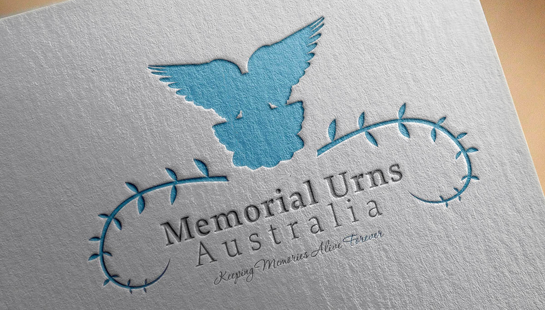 Logo & Branding - Logo design mockup on heavily textured cotton paper for Memorial Urns of Australia