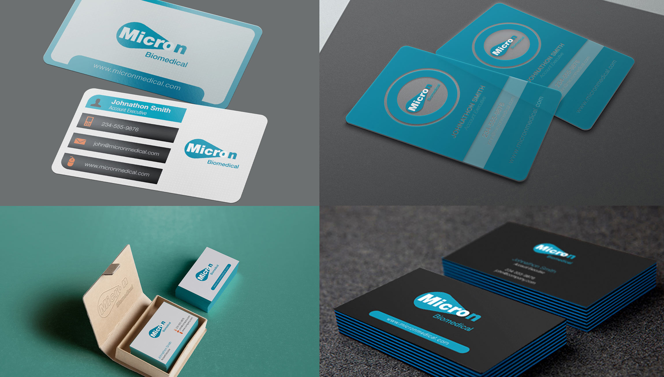 Printing and Design - Business Card Proofs Mockups for Micron Biomedical of Atlanta, GA