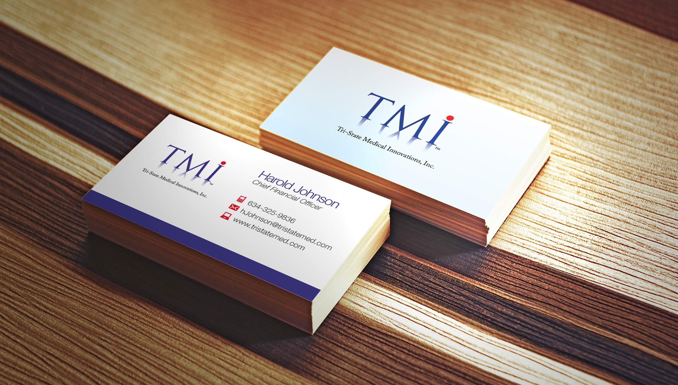 Printing and Design - Business Cards Graphic Design Mockup for Tri-State Medical Innovations