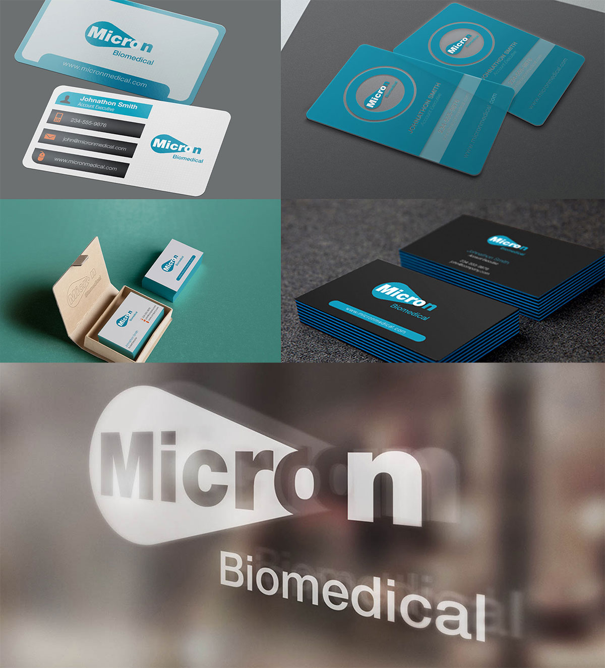 Business Card Designs and logo mockup for a company called micron biomedical