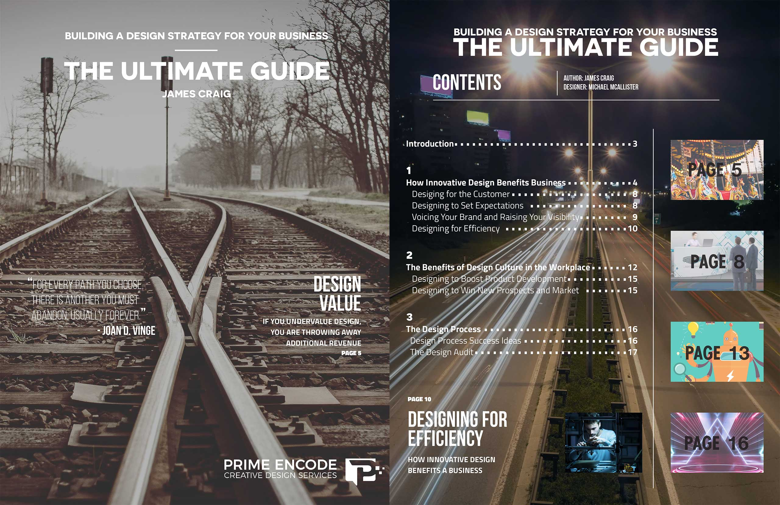 Cover pages for an article about building a design strategy for your business