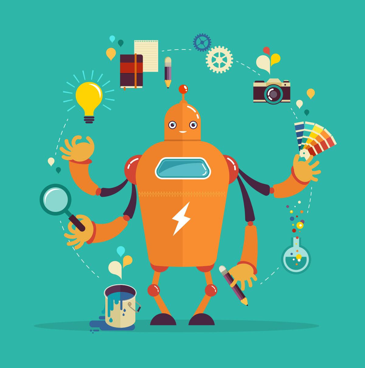 Robot juggling creative elements of design